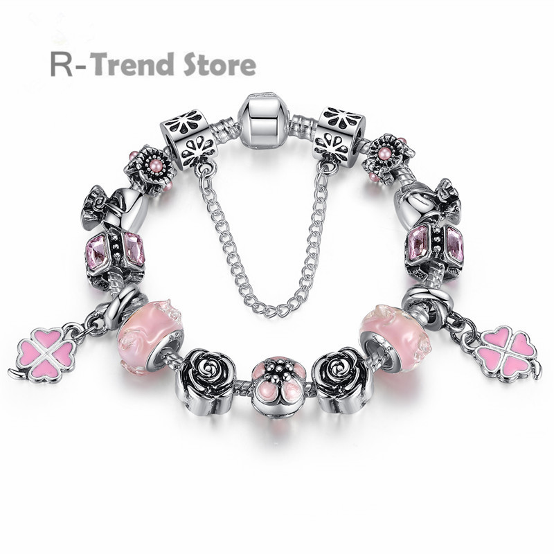 Clover Charms Bracelet Women Pink Bracelets Bangles For Female Silver Plated Diy Jewelry PA1451(China (Mainland))