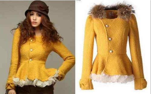 Yellow New Womens Elegant Faux Fur Collar Jacket Slim Coat Outerwear Tops #8008