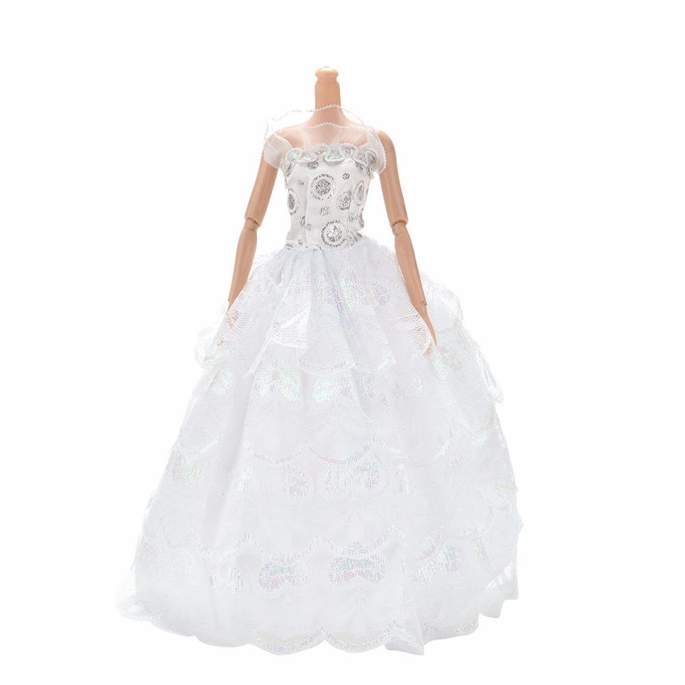 Summer Floor Length White Party Wedding Dress For Barbie Handmade 4 Layer Doll Princess Dress Clothing