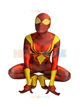 Newest Iron Spider Armor Costume V2 3D Printing Spiderman Costume Fullbody Halloween Cosplay Zentai Suit Hot Sale free shipping
