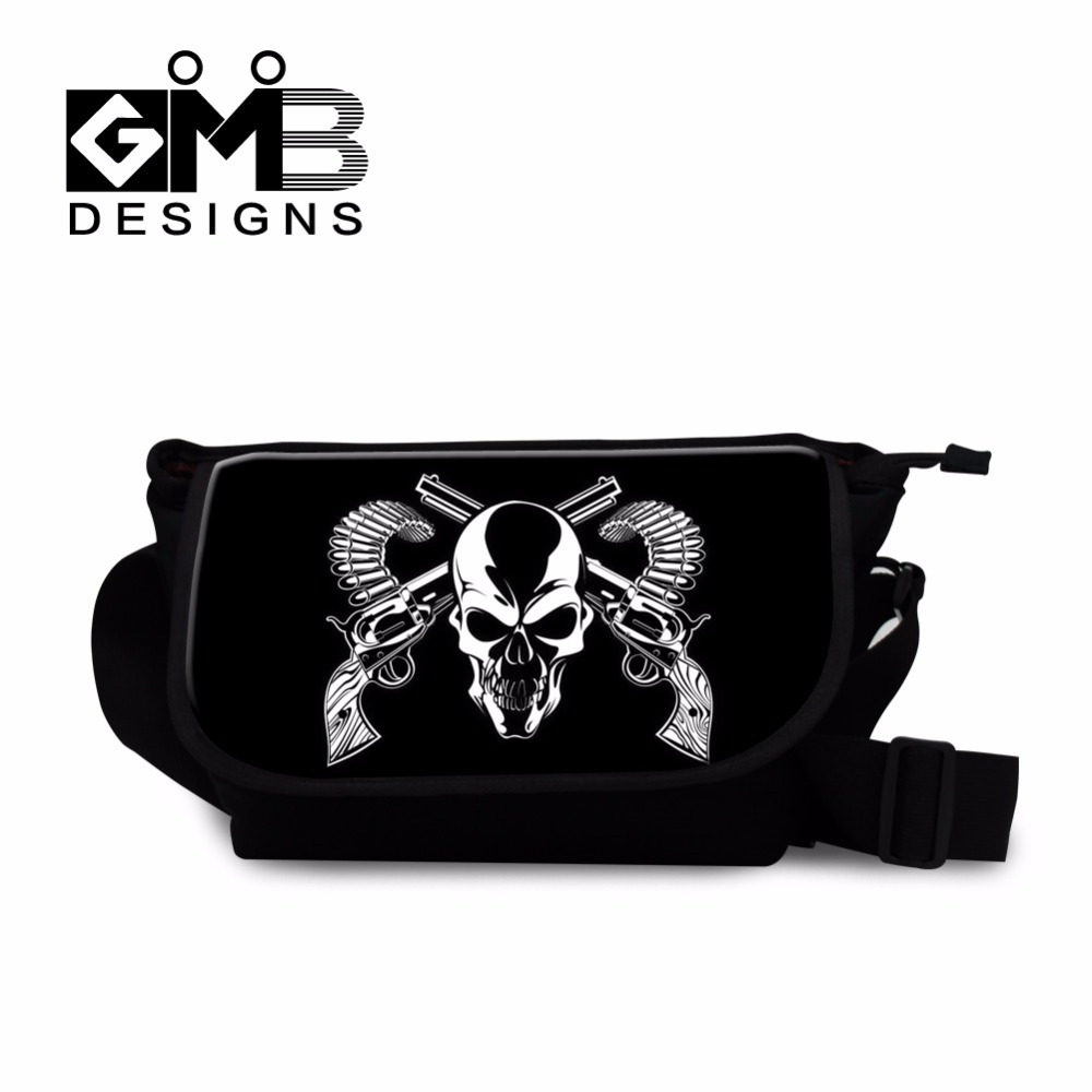 Cool School Messenger bags for Children Boys medium cross body bags skull side bags for teenagers girl mens canvas shoulder bags(China (Mainland))