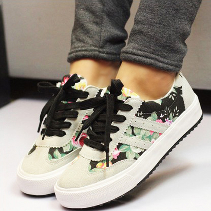 women canvas shoes casual shoes women 2016 hot fashion printed platform shoes chaussure femme in. Black Bedroom Furniture Sets. Home Design Ideas