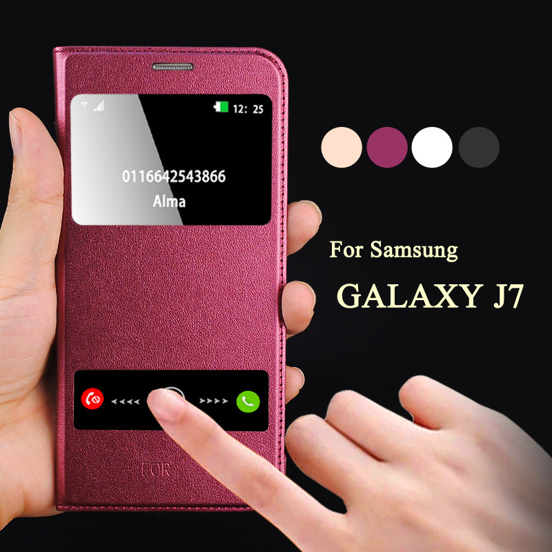 luxury coque for samsung galaxy j7 j700f case hard back skin mobile phone flip leather cover for. Black Bedroom Furniture Sets. Home Design Ideas