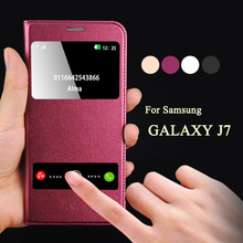 KOBEE Luxury Coque For Samsung Galaxy J7 J700F J7 2016 /J710 Case Mobile Phone Flip Leather Cover For Galaxy J7 Window Calling(China (Mainland))