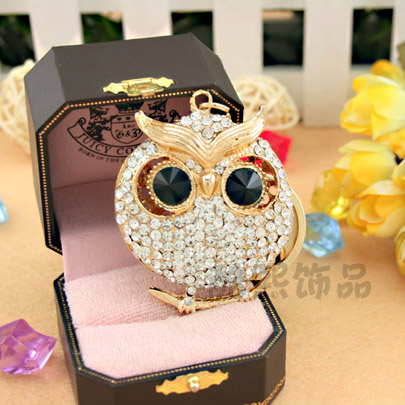 Beautiful 18K Gold Plated Owl Pendant Keychain Crystal Key Chain Exquisite Gift Ring Keyring - Pheninex Co.,Ltd. store