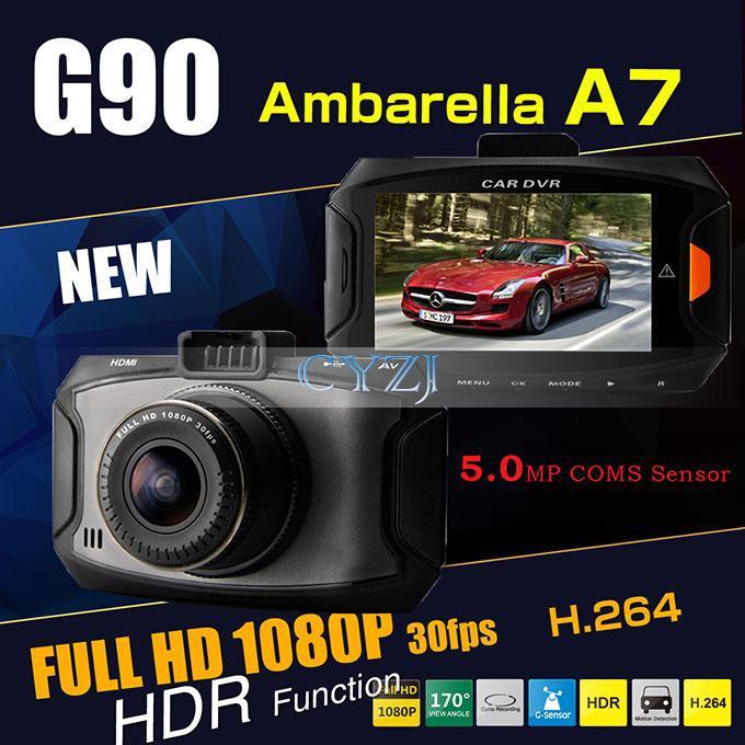 G90 car camera dvr recorder Ambarella A7 Dash cam 5 MP Full HD 2.7' LCD 170 Wide angle Lens Car DVR HDR G-Sensor video CAM(China (Mainland))