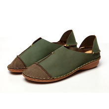 Whensinger 2016 Women Shoes Female Genuine Leather Loafers Stitched Casual Slip-On Solid Round Toe Characteristic Fashion 988(China (Mainland))