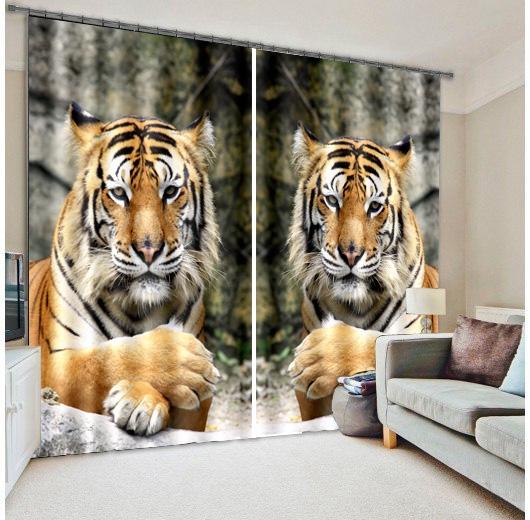 bambini soggiorno tende con limmagine 3d tigre fratelli stampa tende ...