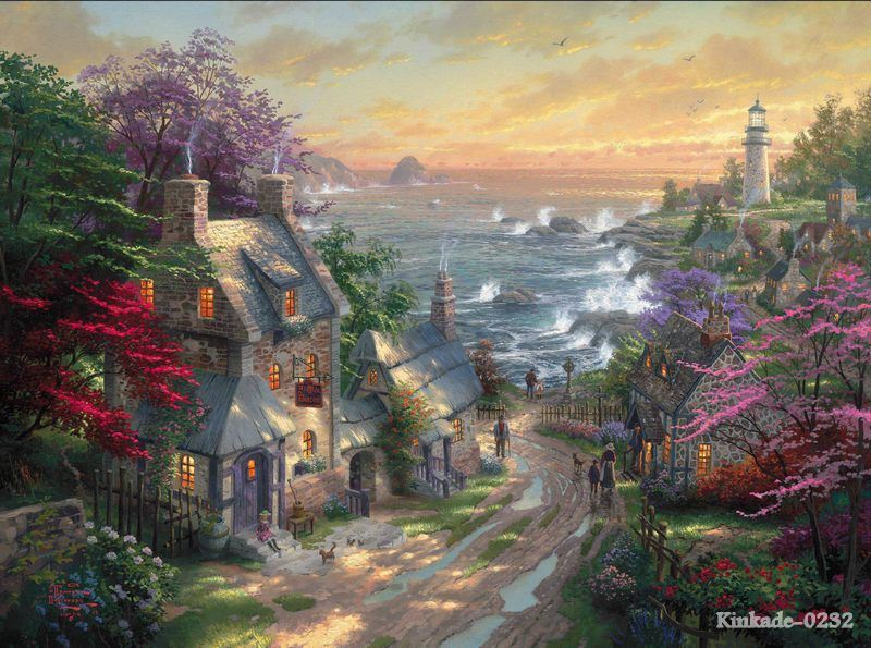 The Village Lighthouse thomas kinkade oil painting modern wallpaper arts and crafts Friends Gift decor acrylic landsc(China (Mainland))