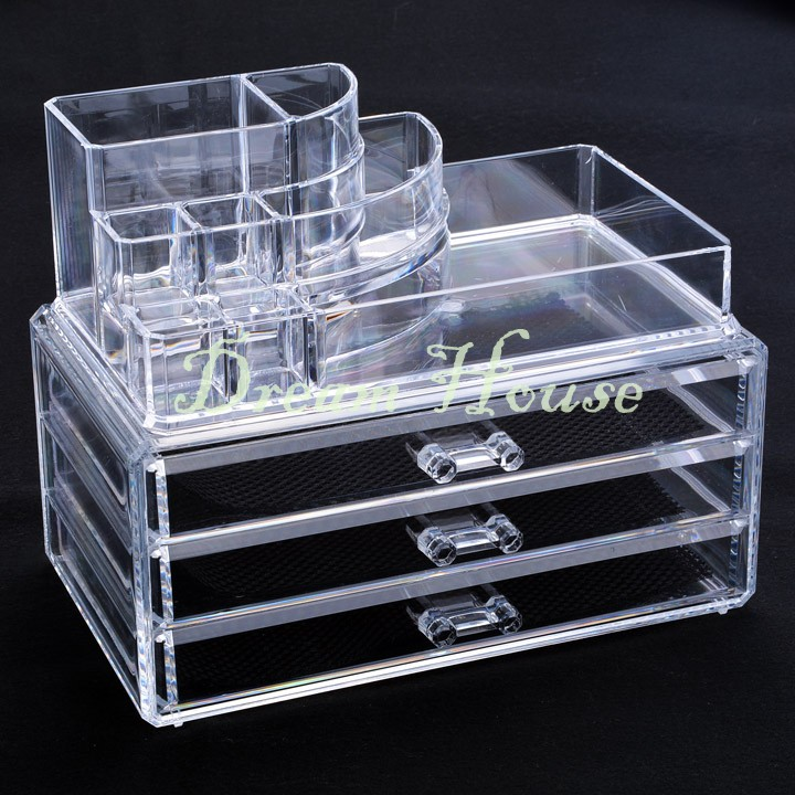Delivery From USA 3 Drawers Clear Makeup Jewelry Cosmetic Storage Display Box Acrylic Case Stand Rack Holder Organizer US50(China (Mainland))