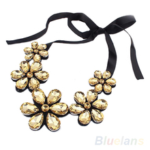 New Fashion exquisite Flower Ribbon Gem Petals charming Bib collar Necklace jewelry items 0311 3ES3