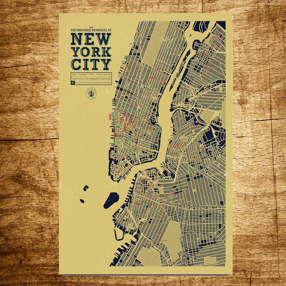 new york city map wholesale vintage canvas painting modern. Black Bedroom Furniture Sets. Home Design Ideas