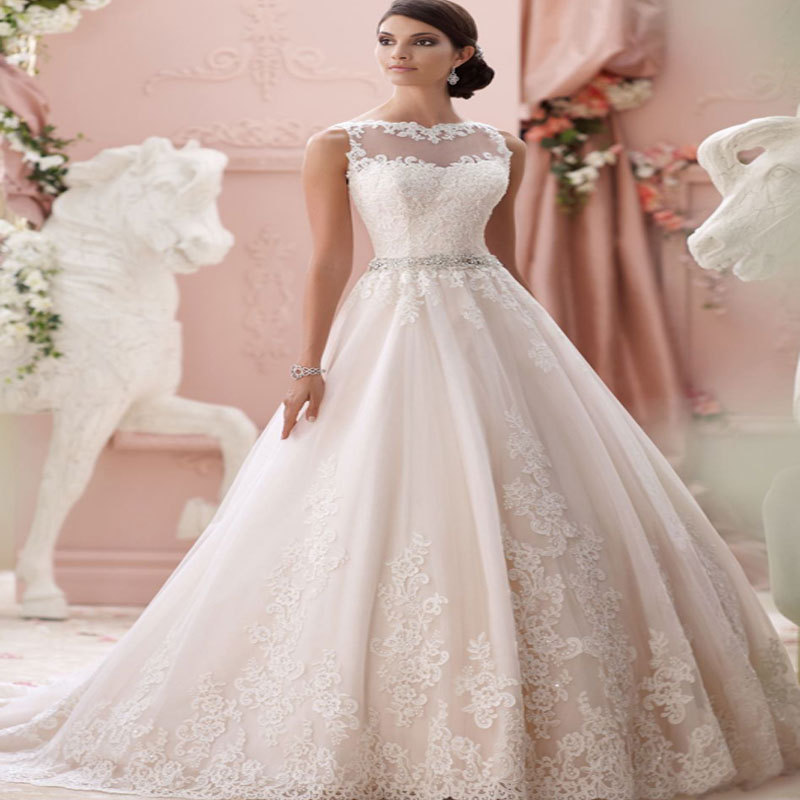 2015 Romantic Vestido de noiva Princess Appliques Wedding ...