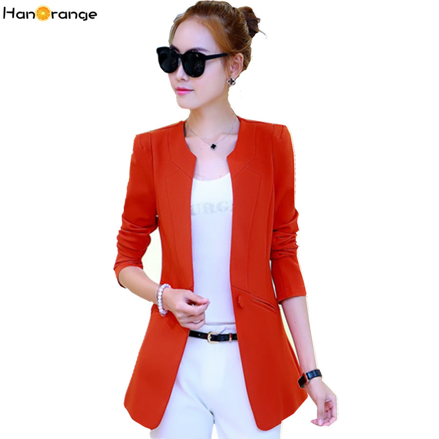 HanOrange Spring Autumn Female Casual Suit OL Single Button Slim Women Blazer Jacket Black/Orange/Rose/Wine Red/Green/Blue/Camel(China (Mainland))