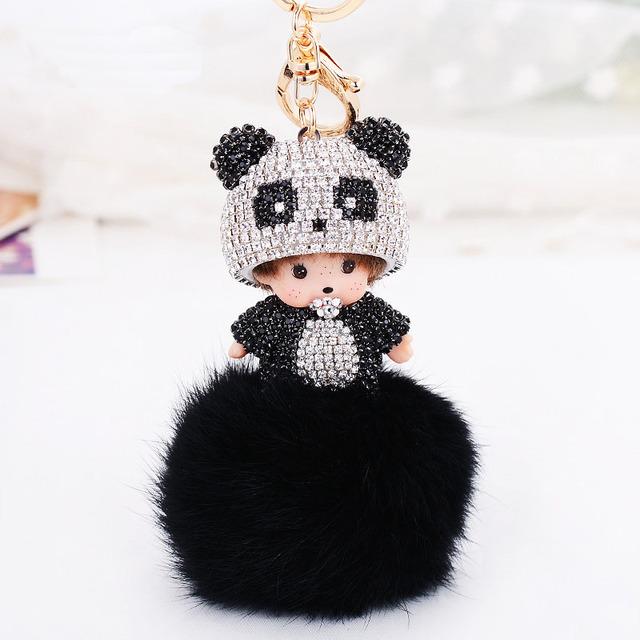 Прекрасный monchichi брелок роскошные хрустальный медведь шляпа подвеска брелок monchhichi подарок на день рождения-мужчин кролика мяч брелок