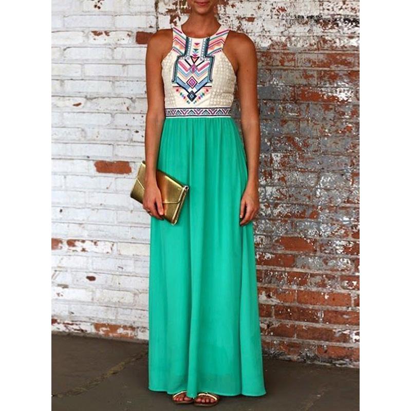 2015 Women Maxi Dress Sleeveless Boho Tribal Folk Aztec Pattern High Waist Casual Maxi Dress Vestidos Summer Style(China (Mainland))