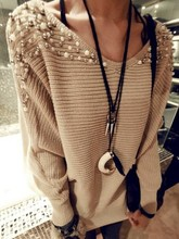East Knitting XL-013 fashion women sweaters shoulder beading shoulder pullovers 2015 autumn new  free shipping(China (Mainland))