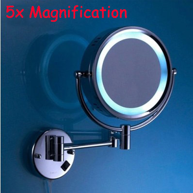 mirror with led LED brass cosmetic mirror wall mounted bathroom beauty mirror double faced retractable makeup mirror folding