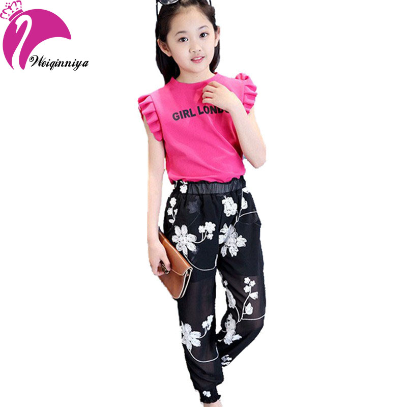 New Arrivals 2016 European Style Fashion Girls Summer Sets Cool Chiffon Vest Floral Pants Kids Suits Children's Girl Clothing(China (Mainland))