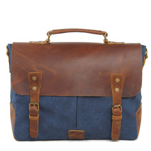 2016 New Man's casual Vintage Canvas Leather bags Men's Computer Laptop Bag Shoulder Messenger Bag Briefcase free shipping(China (Mainland))