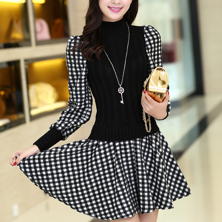 New Spring Knitting Patchwork Grid Women Dresses Long Sleeve Stand Collar Korean Style Woman's Clothes(China (Mainland))