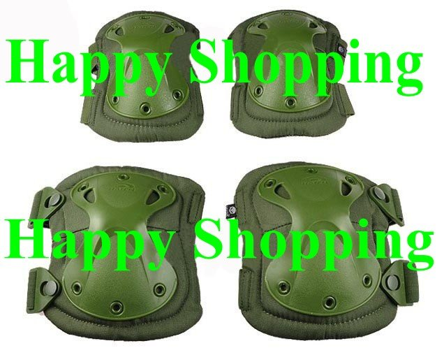 Transformers tactical combat hunting knee and elbow protector pads set Green