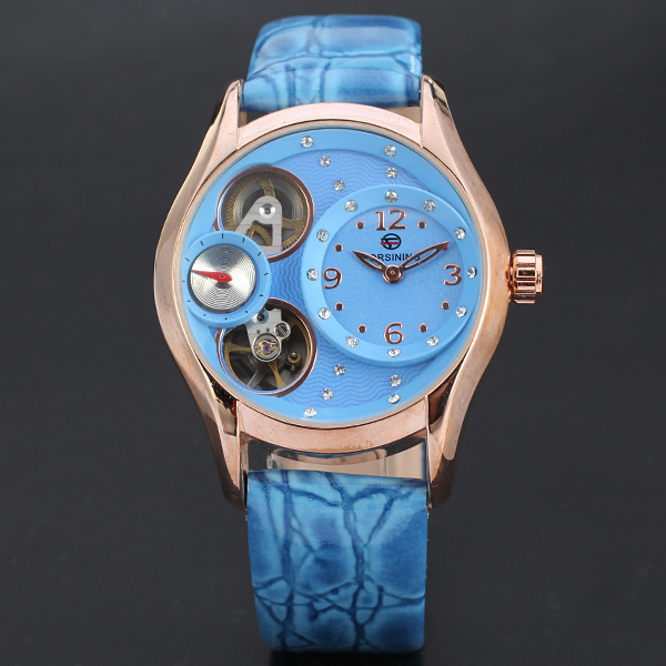 Cool 3 Eyes Designer Women Mechanical Watches Self Winding Crystals Wristwatch Leather Strap Analog Relojes Waterproof NW4820(China (Mainland))