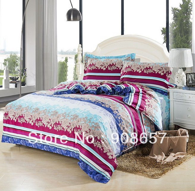 blue violet red Europe 300TC cotton bedding girl's bed in a bag discount comforter bed linens full queen duvet quilt covers set(China (Mainland))