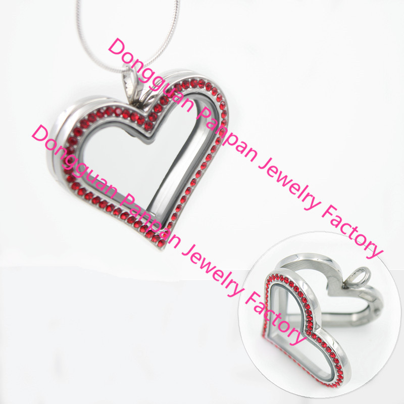 Panpan 316L stainless steel sharp heart living locket with red  crystals<br><br>Aliexpress