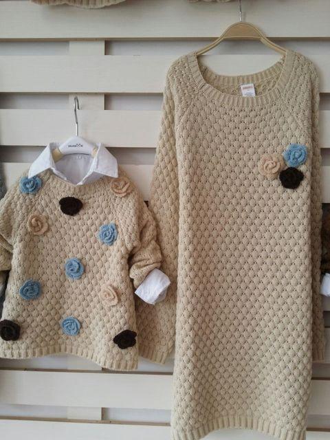 Семья одежда соответствующие свитера мать и дочь одежда свитера платье девушка цветок ...