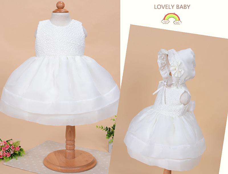 0-2Y Baby Girls Elegant Communion Dresses Child Sleeveless NEW White Princess Party Christening Gown Wedding dress Wholesale(China (Mainland))