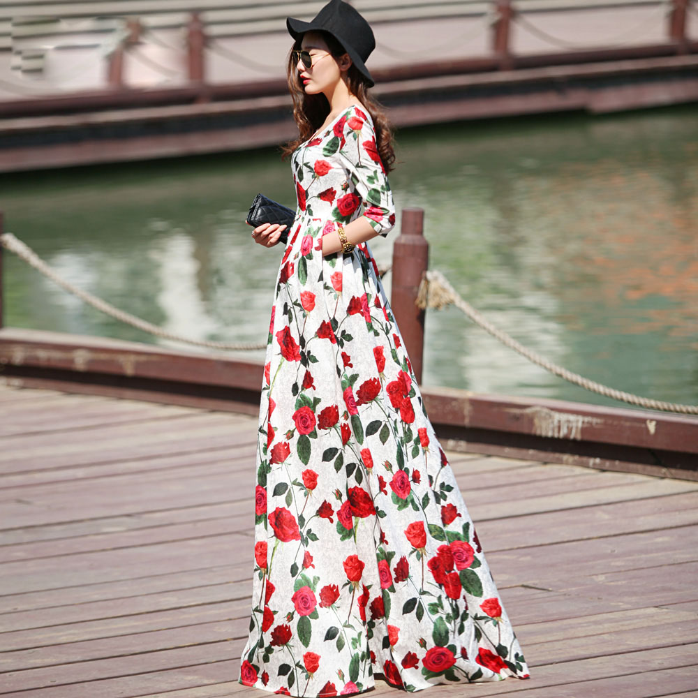 2015 Europe Slim Extra Long Floral Dresses Women'S Floor Length Plus Size Clothing