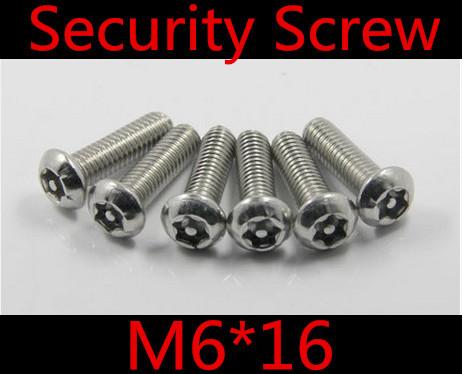 50pcs/lot M6*16 Security Screw, CSK Half Round / Pan Head Torx Machine Screw, M6 6-Lobe Screw Anti-Theft Bolt<br><br>Aliexpress