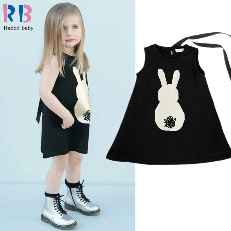 2016 New Children's Clothing Girls Dress girls cartoon bunny rabbit sleeveless casual dress Europe Ribbon Kids Free Shipping(China (Mainland))