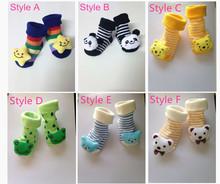 12 pairs lot Baby Socks Newborn With Animal Baby Boy Outdoor Shoes Baby Girl Anti slip