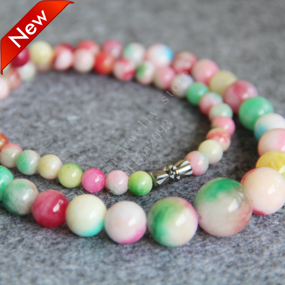 T8289 New 6-14mm Pink&Green jade beads Jasper Necklace,Fashion charming women jewelry wholesale FREE SHIPPING(China (Mainland))