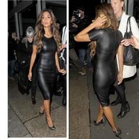 Повседневная мода женщин платье короткий рукав кожа pu Сексуальная сторона женщин clubwear миди платье черный vestidos де Феста c87