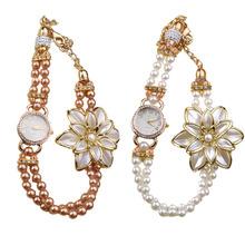 Hot Marketing Hot Sale Luxury Pearl Strap White Flower Bracelet Quartz Wristwatches Women Dress Watches June8