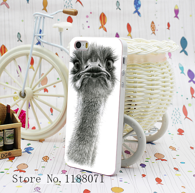 Cute Ostrich Sketch Design for iPhone 5 5s 5G Case Cover Hard Transparent Style(China (Mainland))