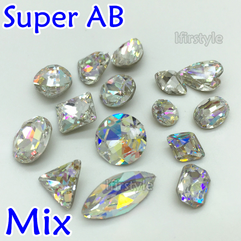 Super Crystal AB 15pcs mix sizes mix shapes as picture shown each one pc K9 AB for Nail Art,earring,necklace decoration(China (Mainland))