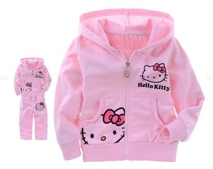Girls Baby Suit Children s clothing set pink suit kids suit Hello Kitty suit KT cartoon