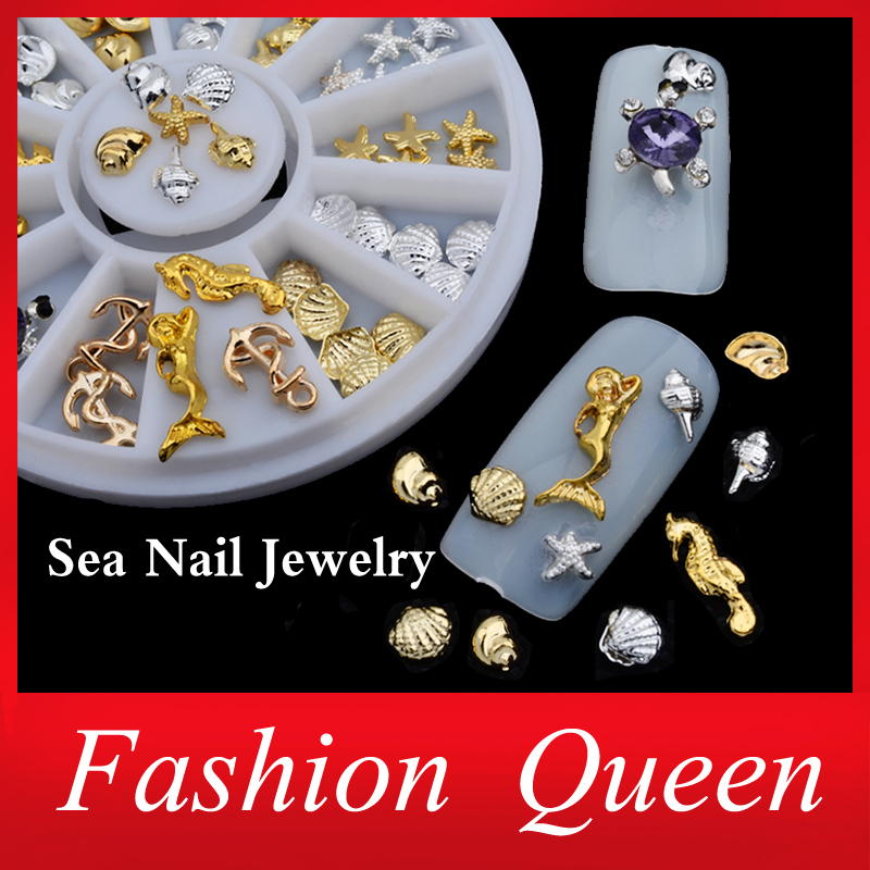 New! Shell Starfish Sea Design Gold Silver Alloy 3d Nail Art Rhinestone Decoration Wheel Charm Studs Spike Jewelry Manicure Tool(China (Mainland))