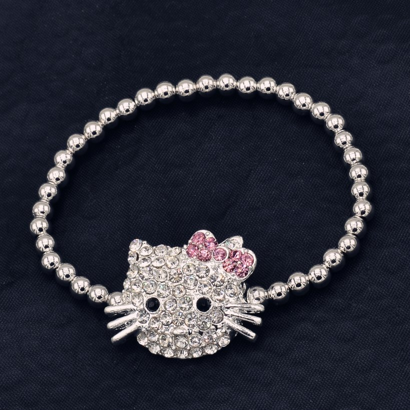 New Children Jewelry Hello Kitty Children Bracelet Bangle 4mm Silver Plated Beads Elastic Kids Baby Bracelet Gifts for Children(China (Mainland))