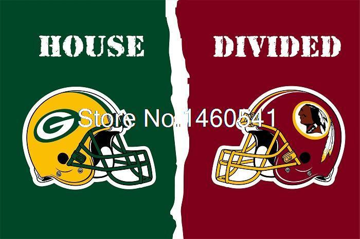 Green Packers Washington Redskins Helmet House Divided Flag 3ft x 5ft Polyester NFL Banner Size No.4 144*96cm Custom flag(China (Mainland))