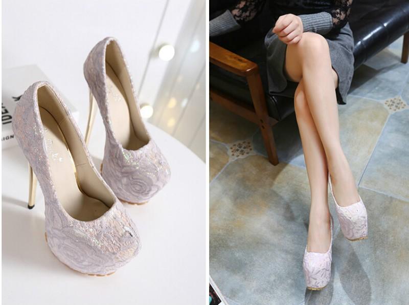 ซื้อ 16Cสูงด้วยดีกับรองเท้าผู้หญิงเซ็กซี่ไนท์คลับยุโรปฤดูใบไม้ร่วงดอกไม้ลูกไม้รอบรองเท้ากันน้ำ