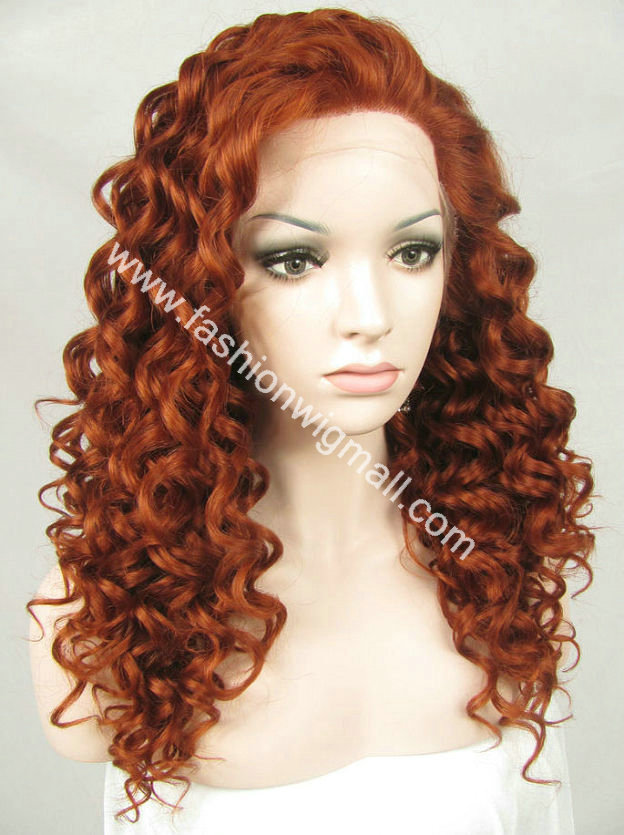Free Shipping W03 20 #350 Reddish Curly Fashion Lady Synthetic Hair Front Lace Wig<br><br>Aliexpress
