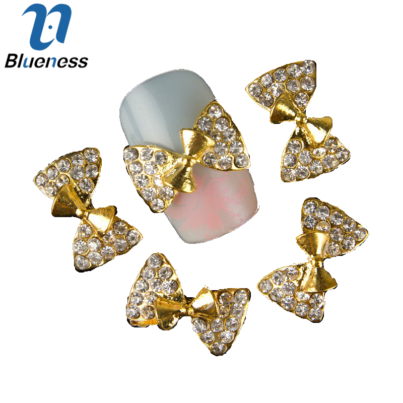 10pc Golden Alloy Glitter 3d Nail Bows Art Decorations with Rhinestones ,Alloy Nail Charms,Jewelry on Nails Salon Supplies TN339<br><br>Aliexpress