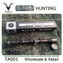 Airsoft air rifle scope Telescope tasco 3-7X28 Hunting Scope With Mounts Lens Caps For recreational target shooting antlers(China (Mainland))