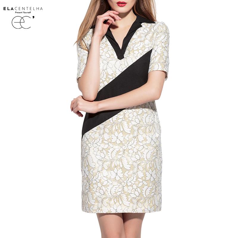 ElaCentelha Brand Dress Women Summer High Qualtiy Embroidery Work Office Dress Short Sleeve Patchwork Turn Down Collar Dresses(China (Mainland))