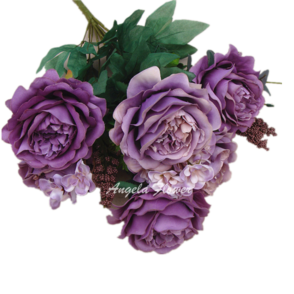 French style 13 heads bicolor artificial rose hybrid silk peony decorative flower bouquet wedding party vase decoration Hi-Q(China (Mainland))